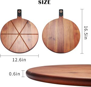 EXPPAZA Wooden Pizza Cutting Board Set with Pizza Cutter Wheel