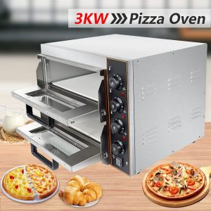 HOMIER Commercial Pizza Oven, Twin Deck, Electric Pizza Oven