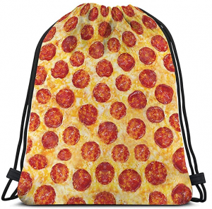 Pizza Drawstring Bag, Pepperoni Pizza Drawstring Sports Backpack