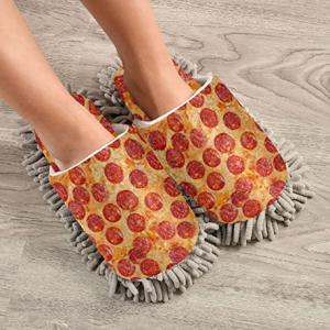 PUXUQU Cleaning House Pizza Slippers, Floor Cleaning Mop Shoes