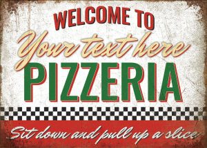 Toasted Merch Personalised Pizza Sign, Customised Pizzeria Sign