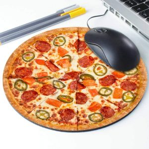 Wasach Pizza Mouse Mat, I Love Pizza - Circle Mouse Pad - Mousepad